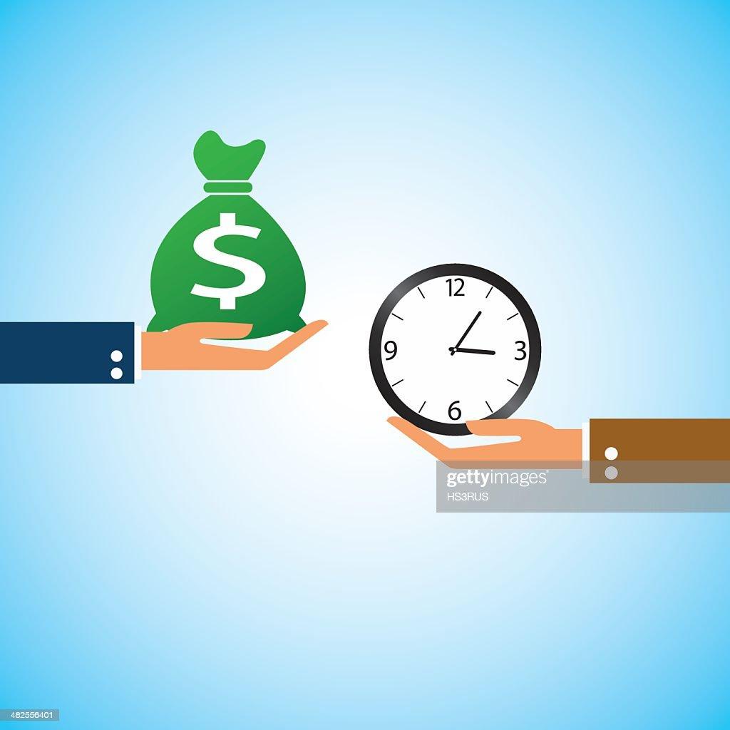 hand bring money clock time