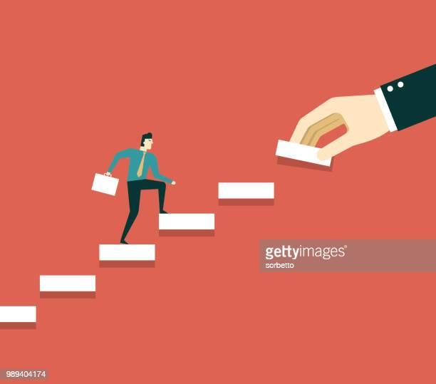 hand building steps - businessman - stacking stock illustrations
