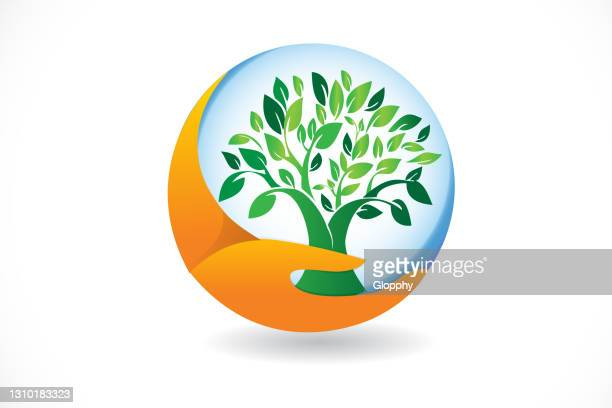 hand care tree ecology environment symbol