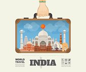 Hand carrying India Landmark Global Travel And Journey Infographic Bag. Vector Flat Design Template.vector/illustration.Can be used for your banner, business, education, website or any artwork