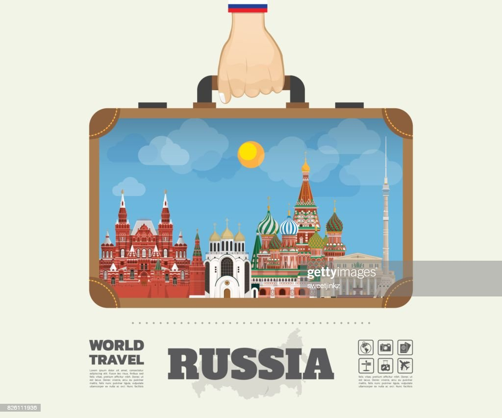Hand Carrying Russia Landmark Global Travel And Journey Infographic Bag Vector Flat Design Templatevector IllustrationCan Be Used For Your Banner