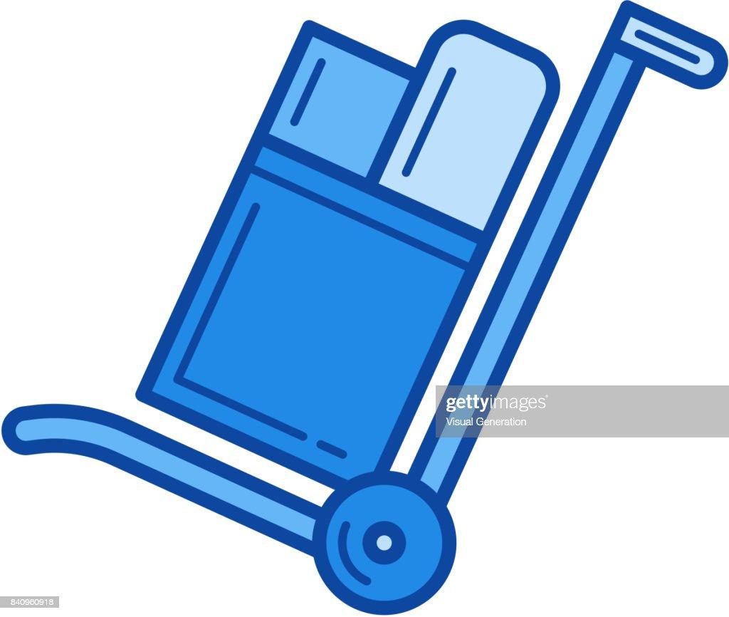 Hand cart line icon