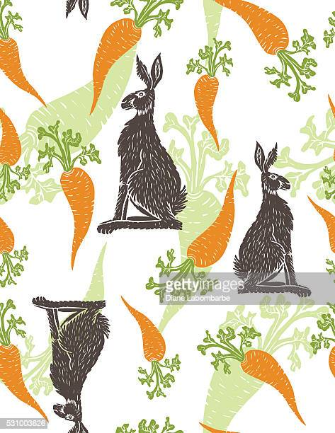 Hand Carved Linoblock Print - Rabbit and Carrots Pattern