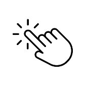 Hand click icon in trendy outline style design. Vector graphic illustration. click symbol for website design, logo, app, and ui