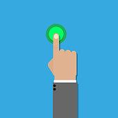 hand click ok flat design vector icon illustration