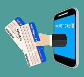 Hand coming out of the smartphone with ticket