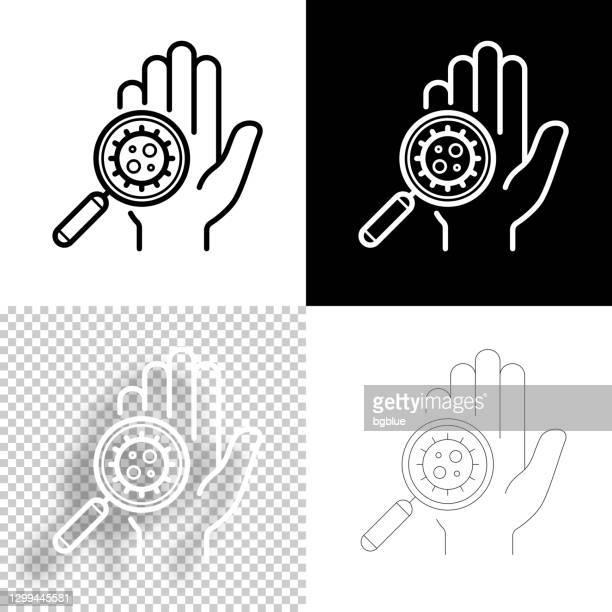 hand mit coronavirus kontaminiert. symbol für design. leere, weiße und schwarze hintergründe - liniensymbol - kontaminierung stock-grafiken, -clipart, -cartoons und -symbole