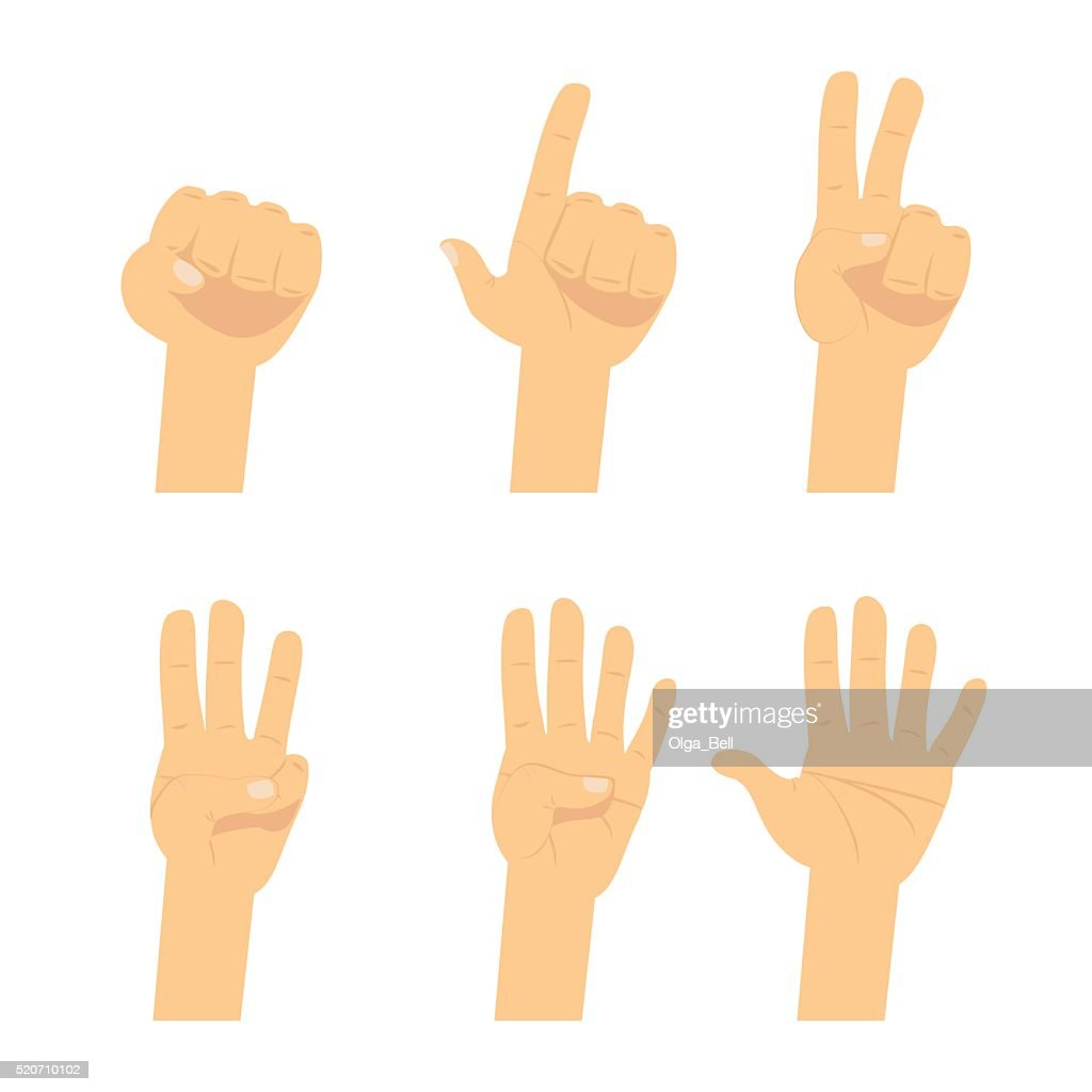 Hand count.  Flat finger and number isolated on white background.