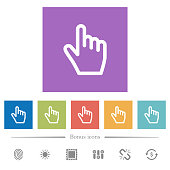 Hand cursor flat white icons in square backgrounds