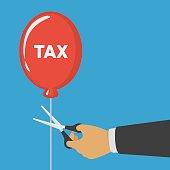 Hand cutting tax balloon string.