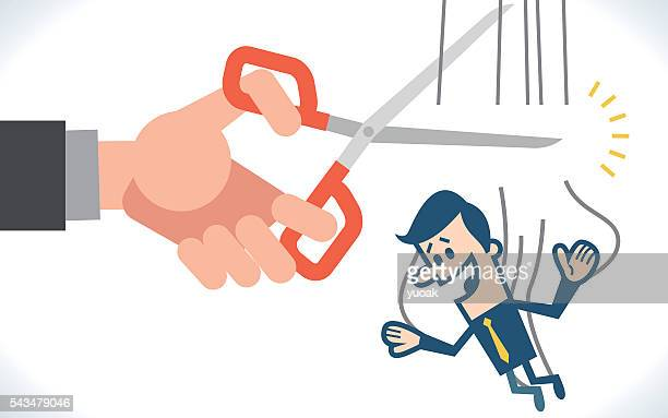 hand cutting the strings of a puppet businessman - downsizing unemployment stock illustrations, clip art, cartoons, & icons