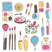 Hand darwn vector cosmetic set. Cosmetic tools and products, per
