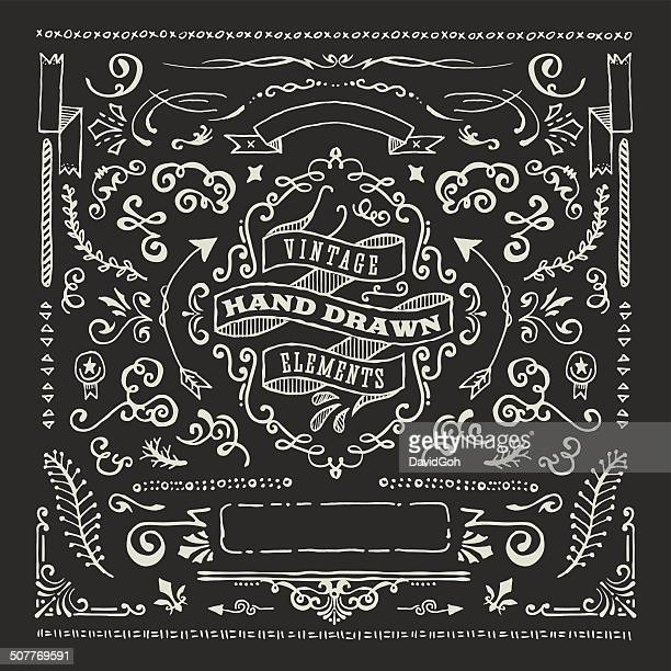 Hand Dawn Blackboard Design Elements