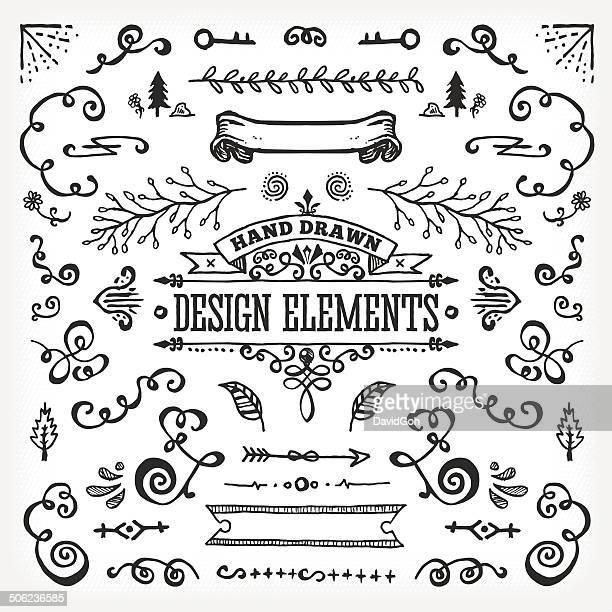 Hand Dawn Design Elements
