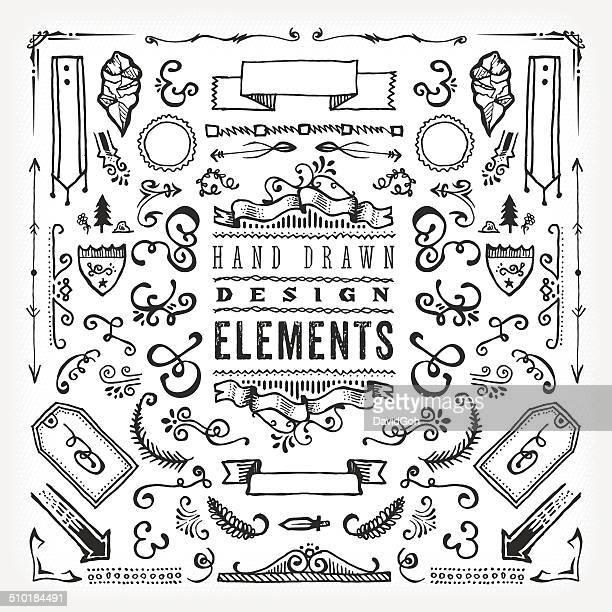 ilustrações, clipart, desenhos animados e ícones de mão dawn elementos de design - florear
