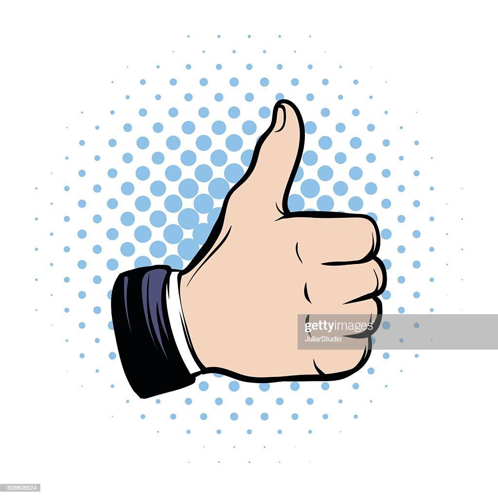 Hand doing a thumb up comics icon