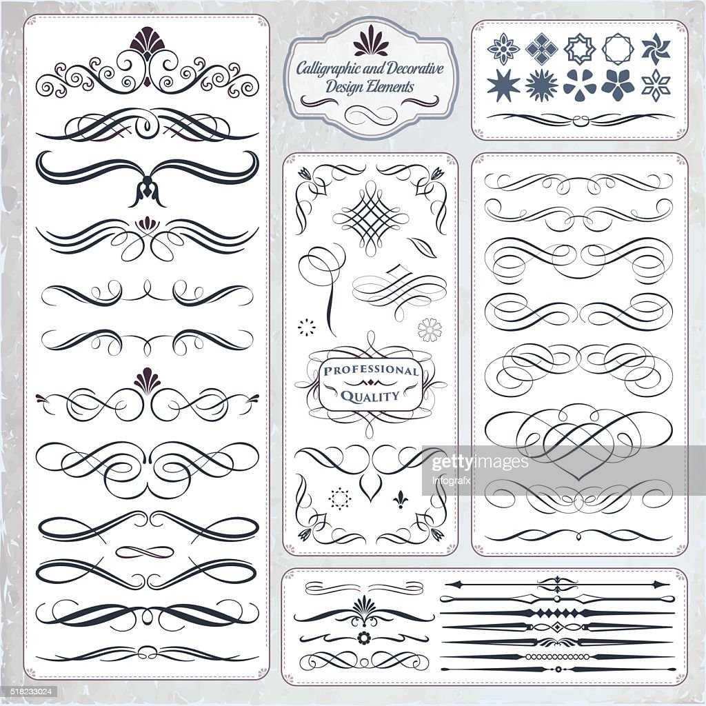 Hand Draw Calligraphic and Decorative Design Elements