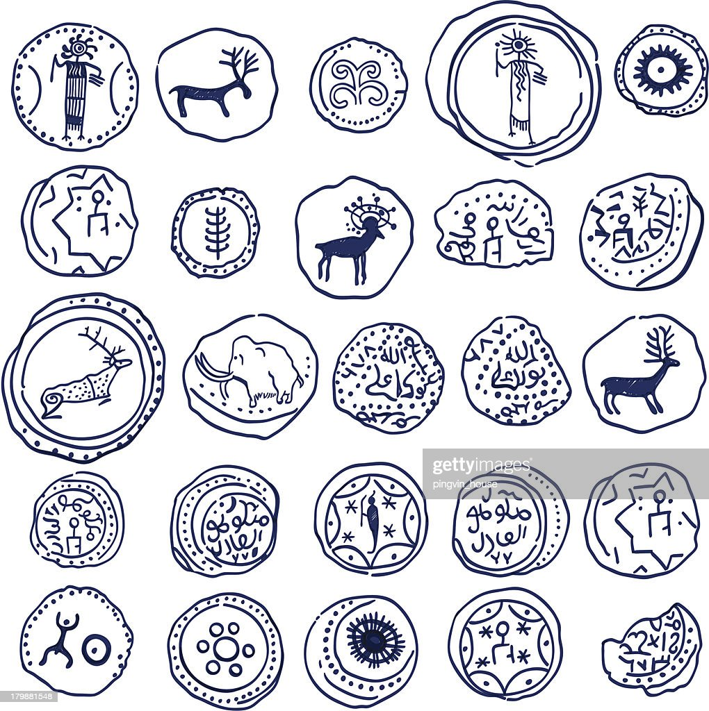 Hand draw coins.  Rock paintings