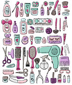 Hand draw elements of cosmetology, hairdressing, makeup and manicure. Cosmetic instrument isolated