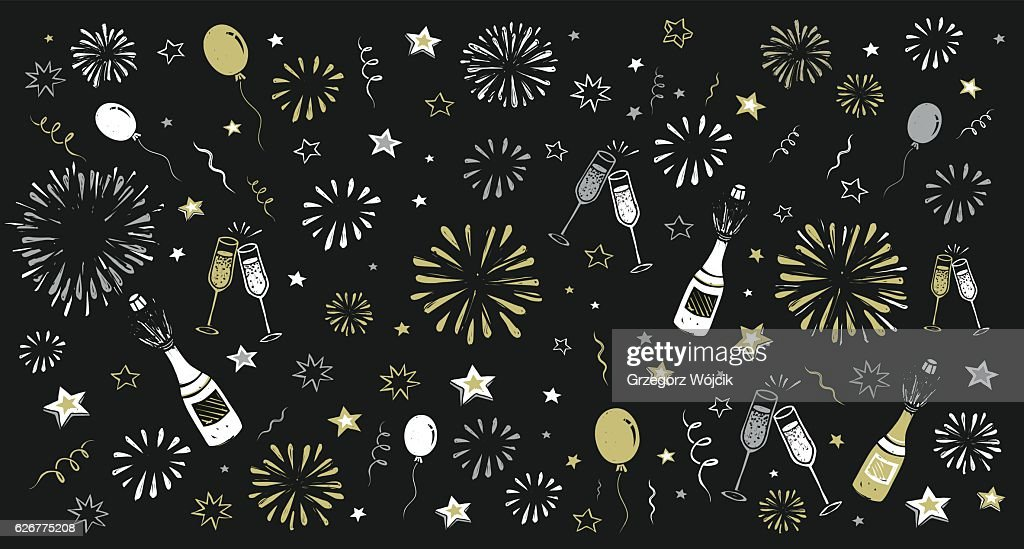hand draw happy new year background