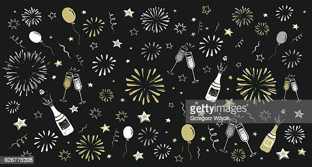 hand draw happy new year background - party stock-grafiken, -clipart, -cartoons und -symbole