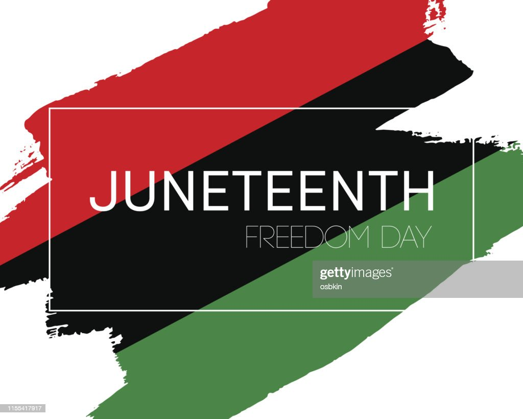 Hand draw Juneteenth Freedom Day flag : stock illustration