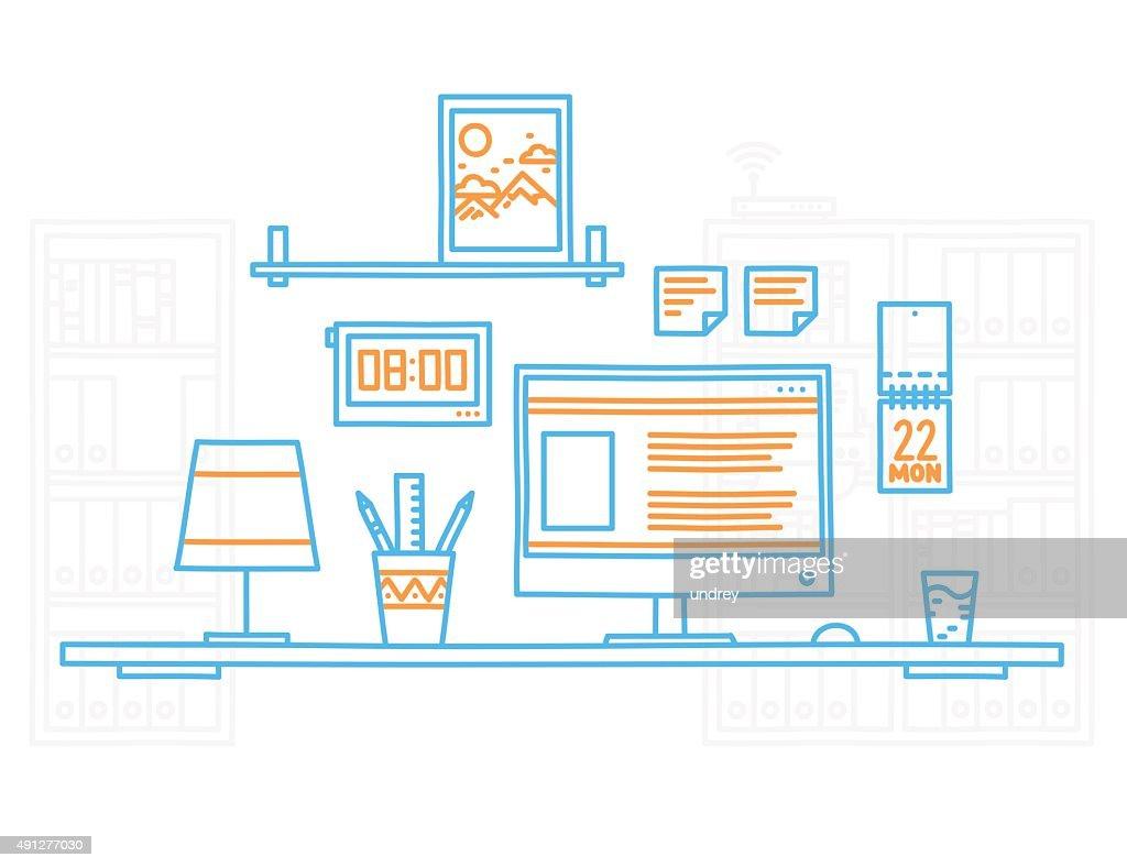 Hand Draw Modern Office Interior Designer Workplace With Desktop