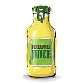 Hand draw of Pineapple juice bottle.
