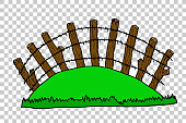 hand draw sketch of Wooden Gate at Transparent Effect Background