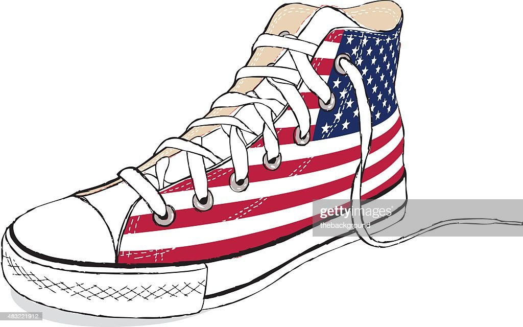 hand draw vector modern sport shoes with USA flag