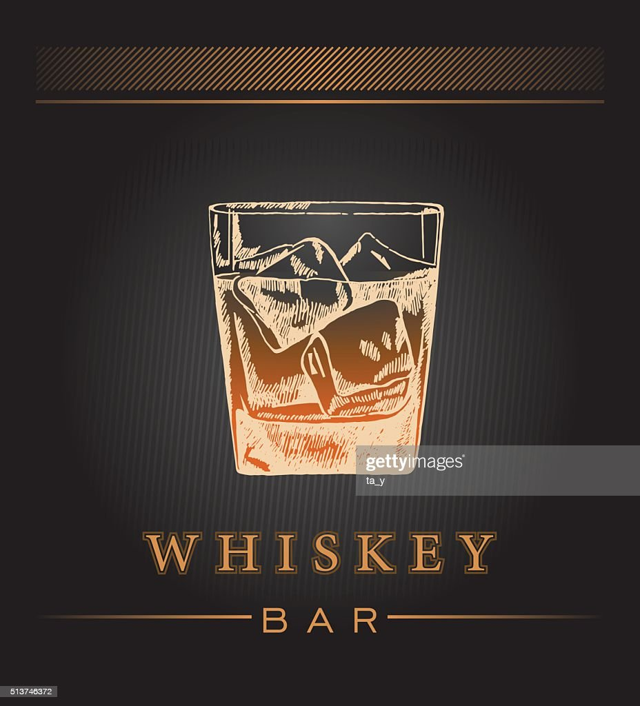 Hand draw whiskey label.