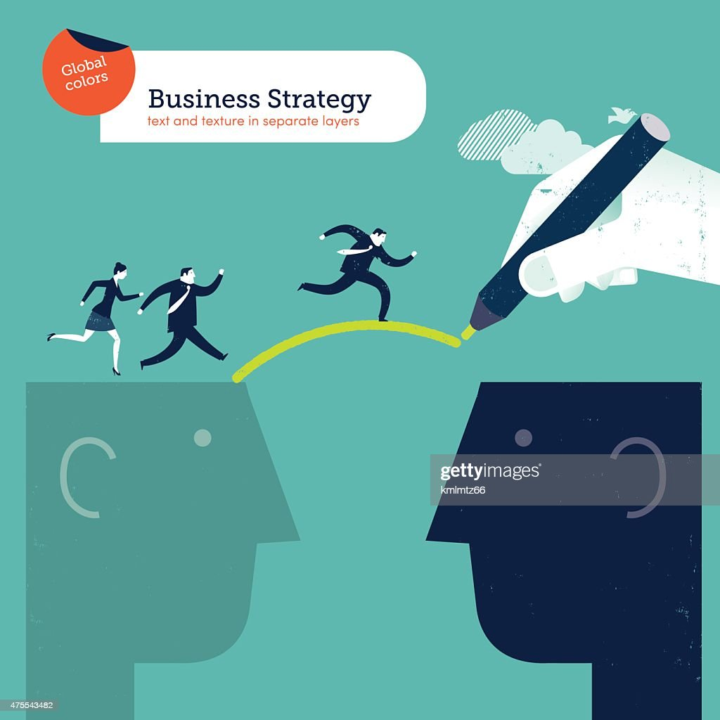 Hand drawing a bridge between two heads businesspeople crossing over