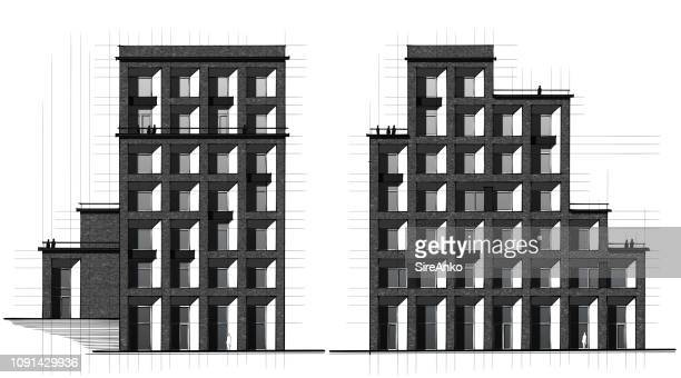 Hand drawing black and white architecture