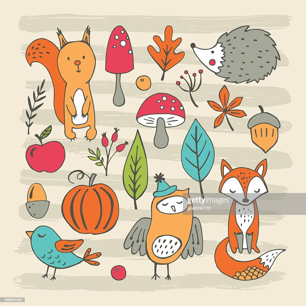 Hand drawing elements for autumn and fall design