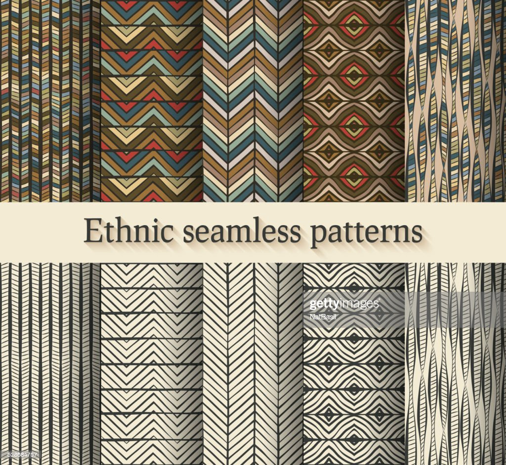 hand drawing ethnic seamless patterns set