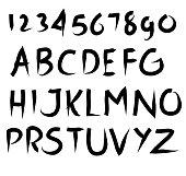 hand drawing freestyle vector brush alphabet set