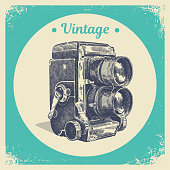 Hand drawing graphic strokes texture of old vintage film two lens photo camera. Isolated vector illustration