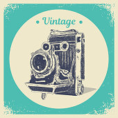 Hand drawing graphic strokes texture of old vintage photo camera. Isolated vector illustration
