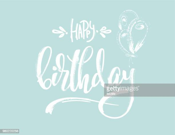 "hand drawing lettering ""happy birthday"" for design card, postcard, flyer, poster - non western script stock illustrations"