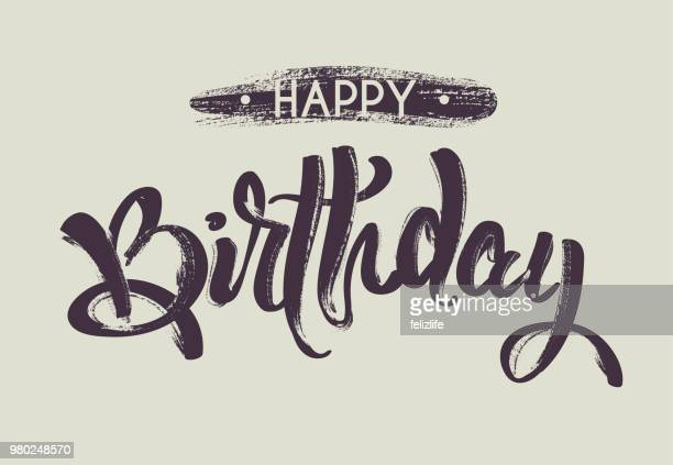 "hand drawing lettering ""happy birthday"" for design card, postcard, flyer, poster"