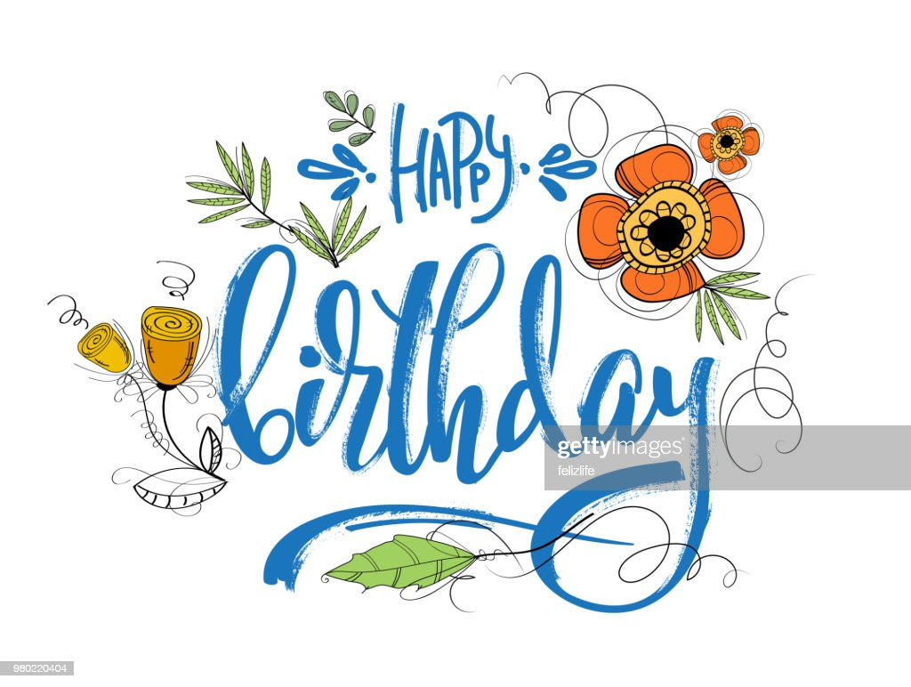 Hand drawing lettering happy birthday with flowers for design card hand drawing lettering happy birthday with flowers for design card postcard flyer izmirmasajfo