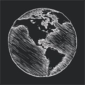Hand drawing line icon. Globe outline drawing
