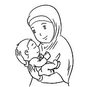 Hand drawing Mother and Son -Vector Illustration