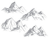 Hand drawing mountain peaks isolated retro etching sketch vector illustration