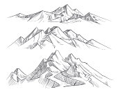 Hand drawing mountain ranges in engraving style. Vintage mountains panorama vector nature landscape