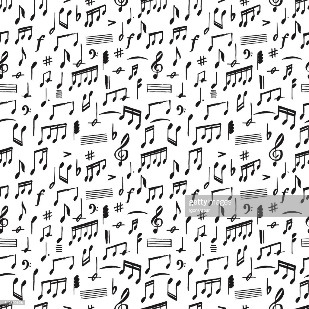 Hand Drawing Music Notes In Grunge Brush Graphic Style Big Seamless