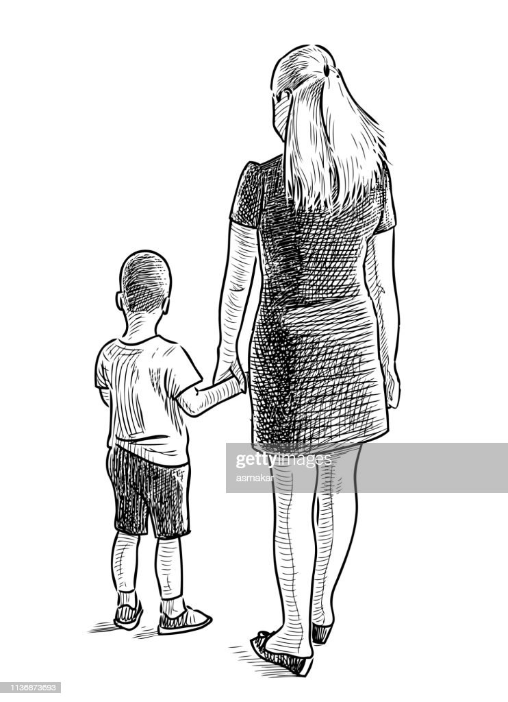 A hand drawing of a young mother with her little son