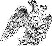 A hand drawing of an imperial two-headed eagle