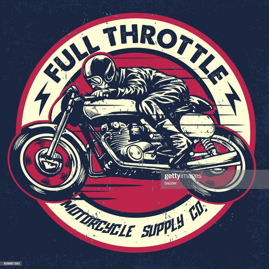 hand drawing of man riding a classic cafe racer motorcycle
