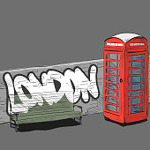 Hand drawing red english phone booth, vector illustration